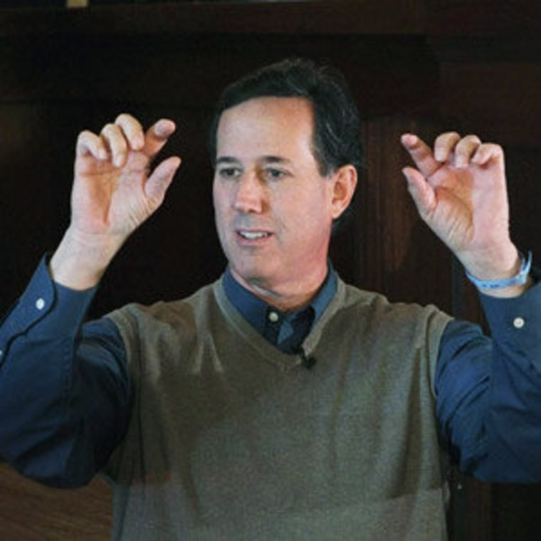 Rick Santorum speaking at a campaign rally in Perry, Iowa on Tuesday.