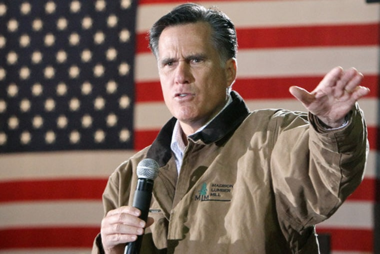 Willard M. Romney at a campaign stop in Madison, New Hampshire on Monday.