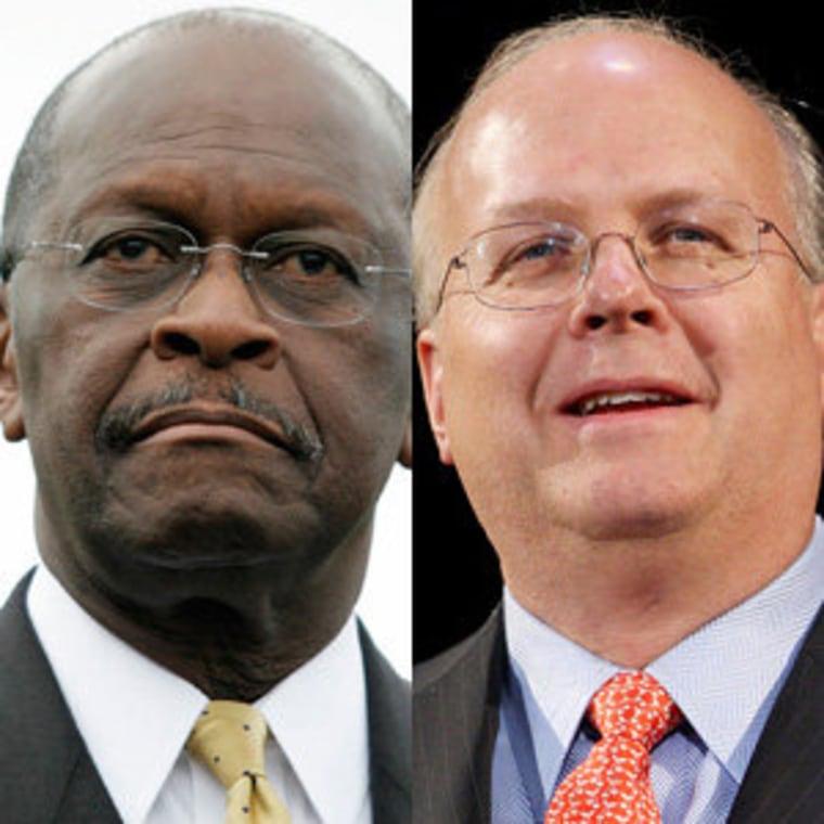 Herman Cain (file) and Karl Rove (file)