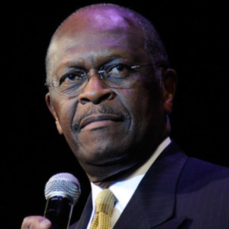 Herman Cain speaking at the Western Republican Leadership Conference at in Las Vegas on Wednesday.