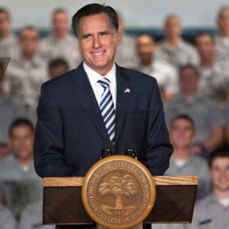 Mitt Romney speaking at the Citadel campus in Charleston, South Carolina on Friday.