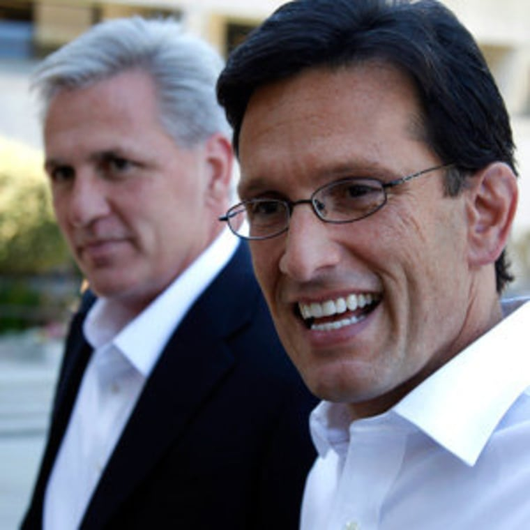 House Majority Whip Kevin McCarthy and Majority Leader Eric Cantor at the Facebook HQ in Palo Alto, California on Monday.