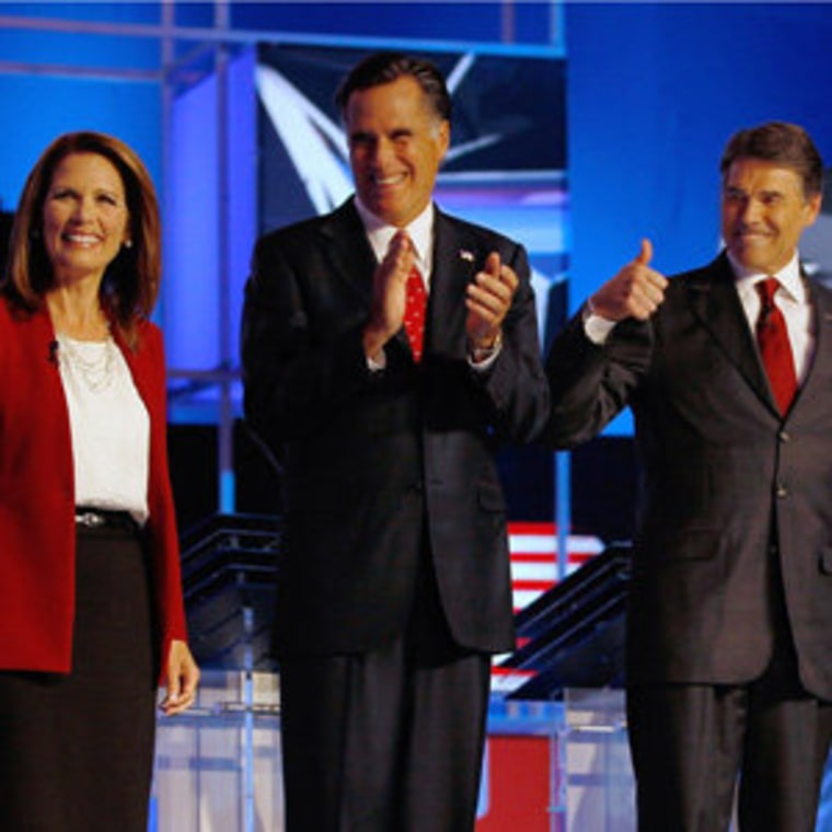 Republican candidates Michele Bachmann, Willard M. Romney and Rick Perry