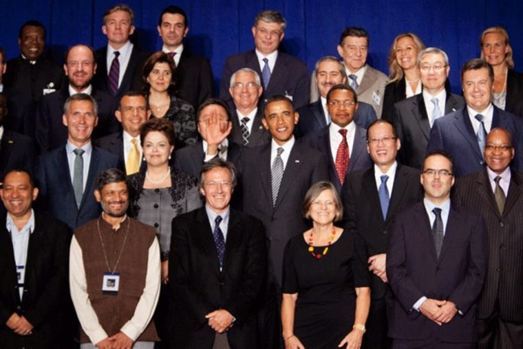 President Obama caught off guard during a picture with leaders at the United Nations on Tuesday,