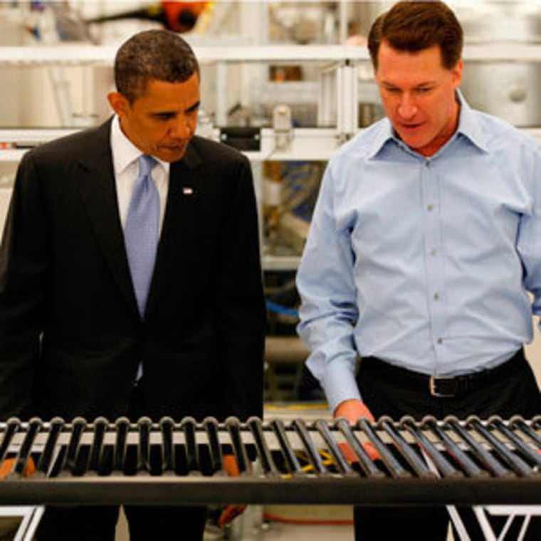 President Obama and Solyndra CEO Chris Gronet checking out a solar panel during a tour of the company's plant in Fremont, California on May 26, 2010.