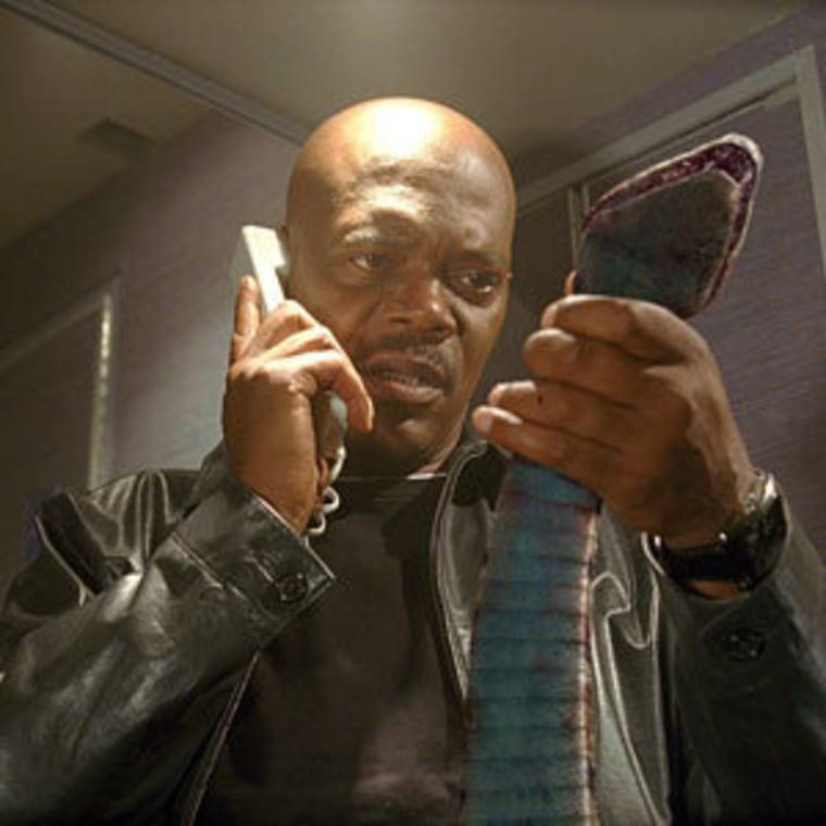 "Samuel L. Jackson as ""Neville Flynn"" in ""Snakes On A Plane."""