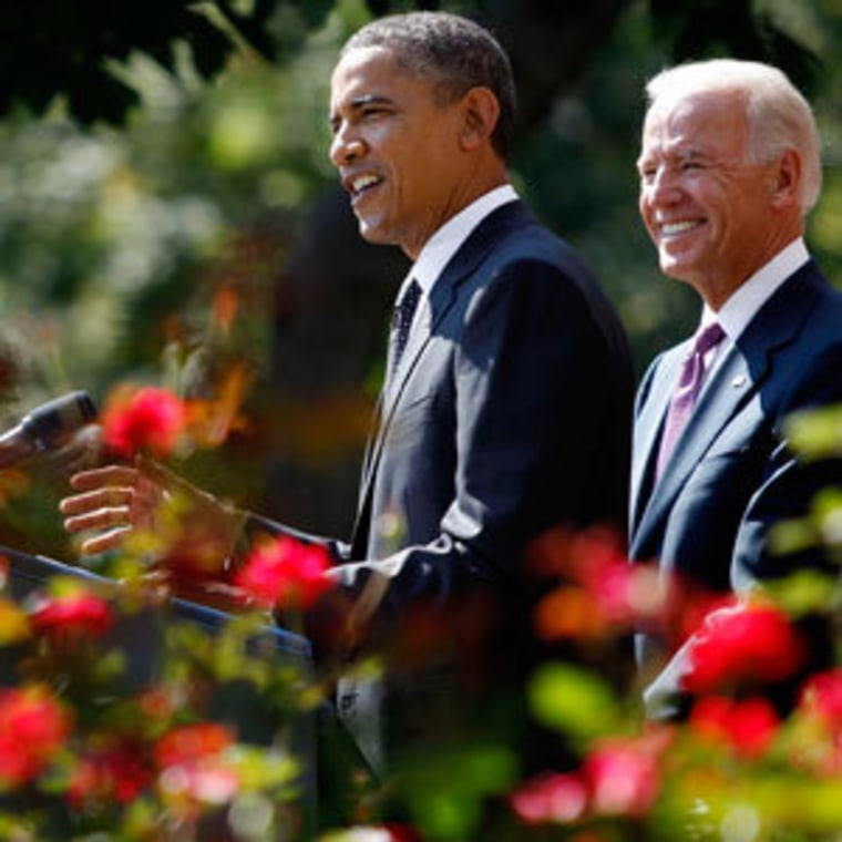"President Obama discussing the ""American Jobs Act"" in the Rose Garden on Monday with Vice President Biden at his side."