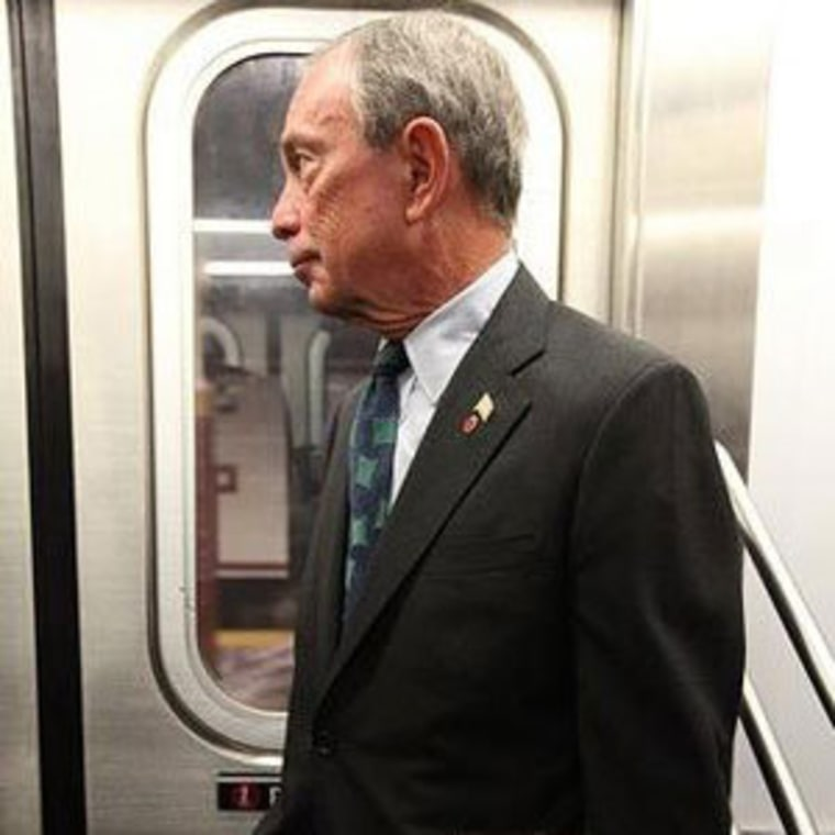 Mayor Michael Bloomberg riding the NYC subway.