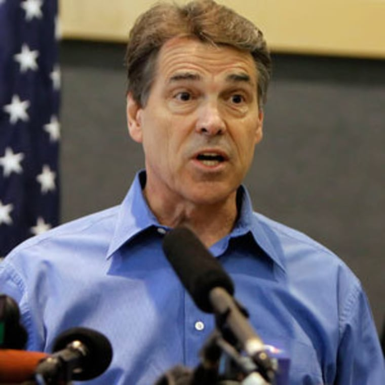 Gov. Rick Perry speaking at a press conference with state and local emergency personnel in Austin, Texas on Tuesday.