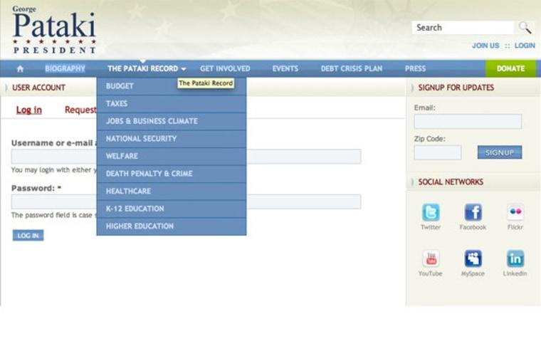 Screengrab of Geroge Pataki's presidential website