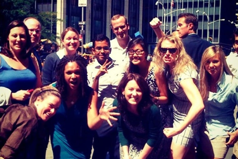 The Last Word staff after evacuating the 30 Rock offices.