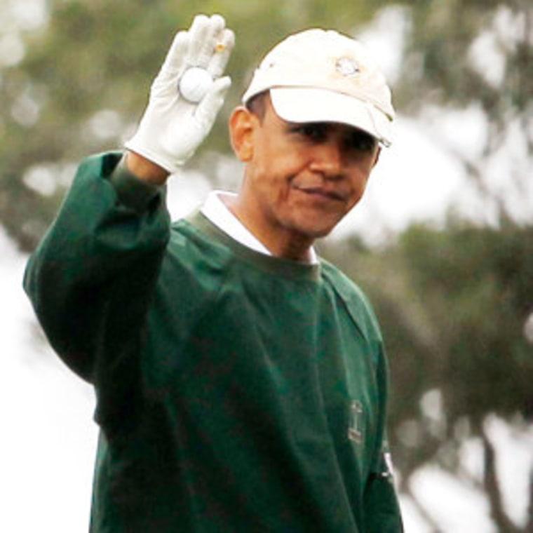 President Obama golfing on Martha's Vineyard in 2010.