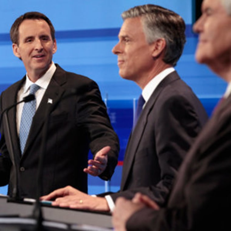 Republican presidential candidates Tim Pawlenty, Jon Huntsman and Newt Gingrich in Ames, Iowa on Thursday.