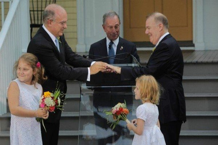 New York City Mayor Michael Bloomberg officiating the marriage ceremony of Jonathan Mintz and John Feinblatt at Gracie Mansion in New York on Sunday.