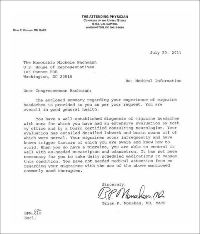 Bachmann issues doctor's note