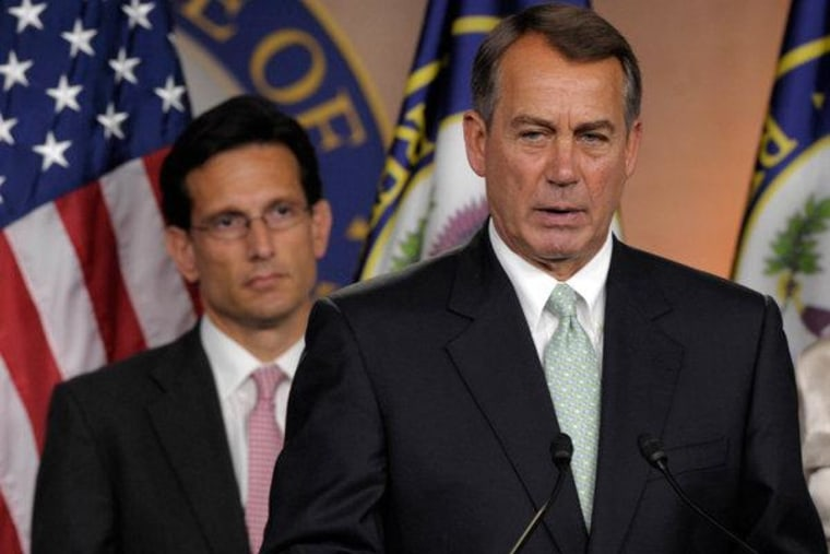 Speaker John Boehner and House Majority Leader Eric Cantor at a press conference on Capitol Hill Friday.