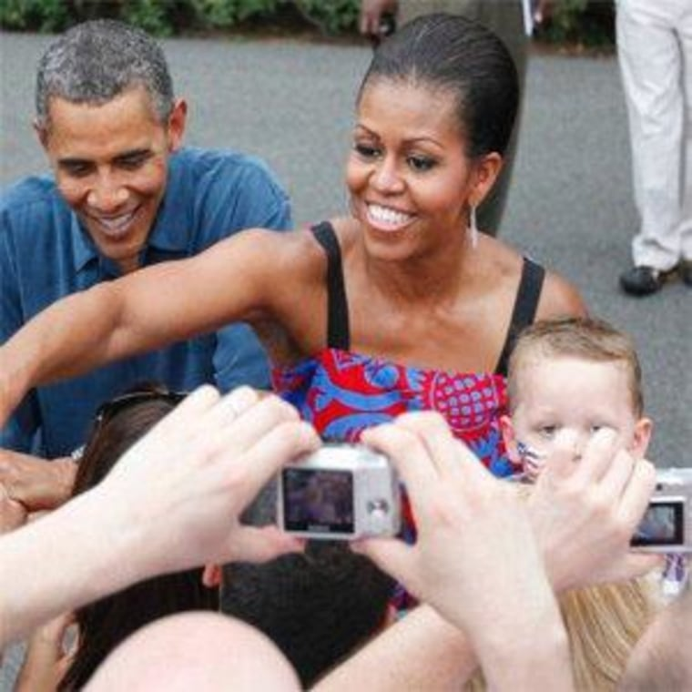 President Obama and First Lady Michelle Obama at the White House on July 4, 2011.