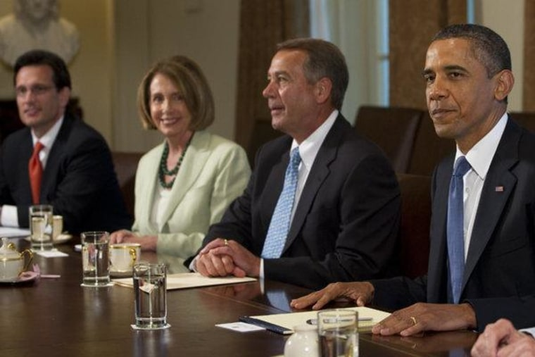 President Obama meeting with House Majority Leader Cantor, House Minority Leader Pelosi and House Speaker Boehner at the White House on Monday.