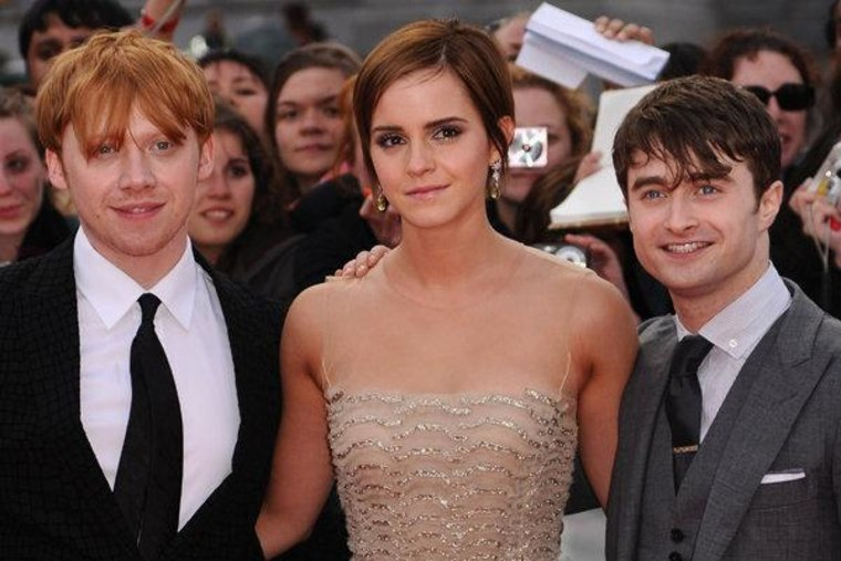 """Rupert Grint, Emma Watson and Daniel Radcliffe at the world premiere of """"Harry Potter and The Deathly Hallows: Part II"""" in London on Thursday."""