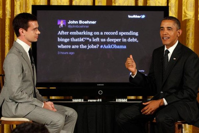 President Obama and Twitter co-founder Jack Dorsey in the first ever Twitter Town Hall at the White House on Wednesday.