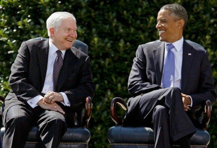 Retiring Defense Secy. Gates and Pres. Obama share a laugh today in Arlington, Va. during Gates' Armed Forces Farewell Tribute at the Pentagon.