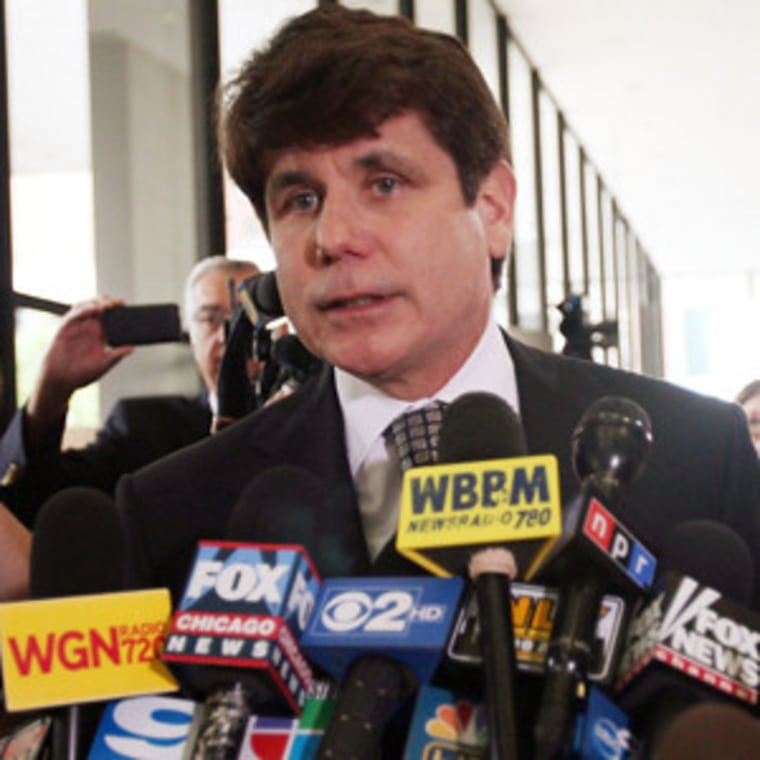Former Illinois Governor Rod Blagojevich speaking to the media following a guilty verdict in Chicago on Monday.