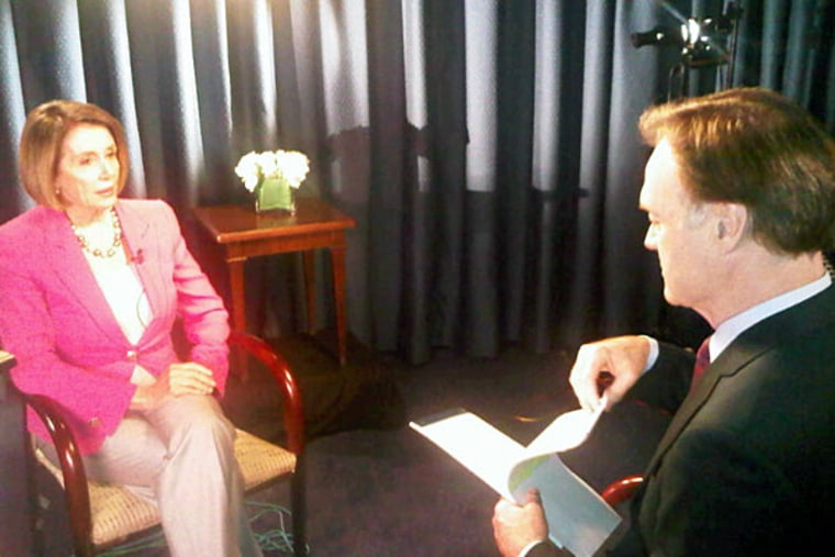 House Minority Leader Nancy Pelosi and Lawrence O'Donnell on set in Washington, D.C.
