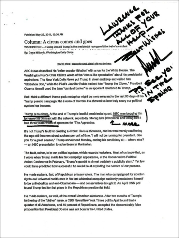 Trump's note to Lawrence
