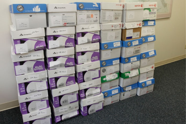 Boxes containing thousands of pages of Sarah Palin's emails from her first 21 months as governor.