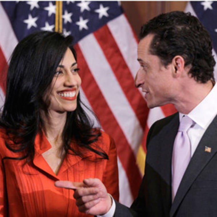 Rep. Anthony Weiner and his wife, Huma Abedin (file)