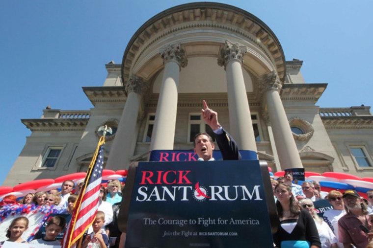 Former Sen. Rick Santorum announcing his 2012 plans in Somerset, Pennsylvania on Monday.