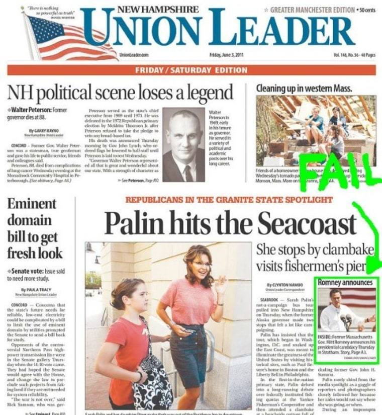 Today's front page bumped Romney for Palin