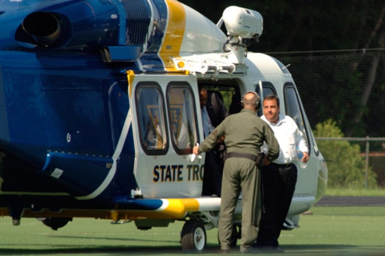 Gov. Chris Christie exiting a state helicopter to attend his son's baseball game in New Jersey on Tuesday.