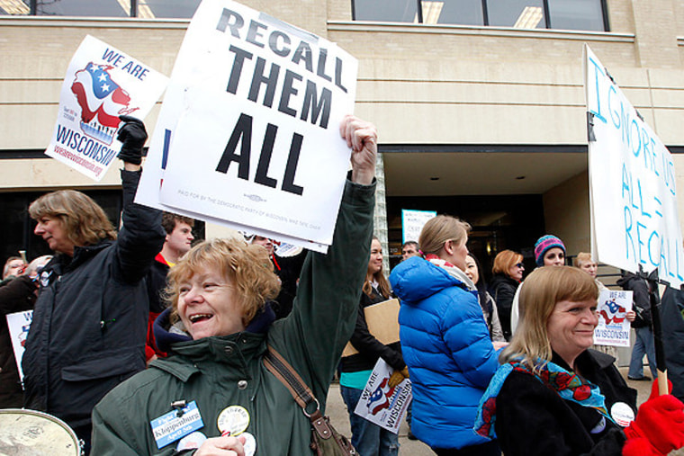 Protesters keeping up the pro-union effort on April 1 in Madison, Wisconsin.