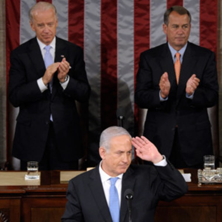 Israeli Prime Minister Benjamin Netanyahu responds to the applause after he addressed a joint meeting of Congress in Washington on Tuesday.