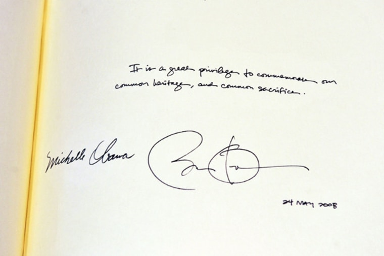 Signatures from the Obamas made during a visit to Westminster Abbey in London on Tuesday