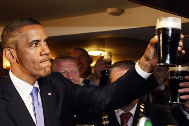 President Obama at pub in Ireland on Monday.