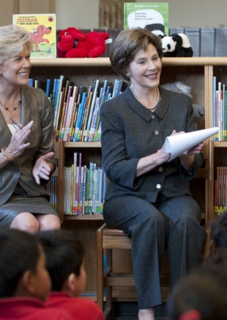 Laura Bush reading to children today at a Dallas elementary school.