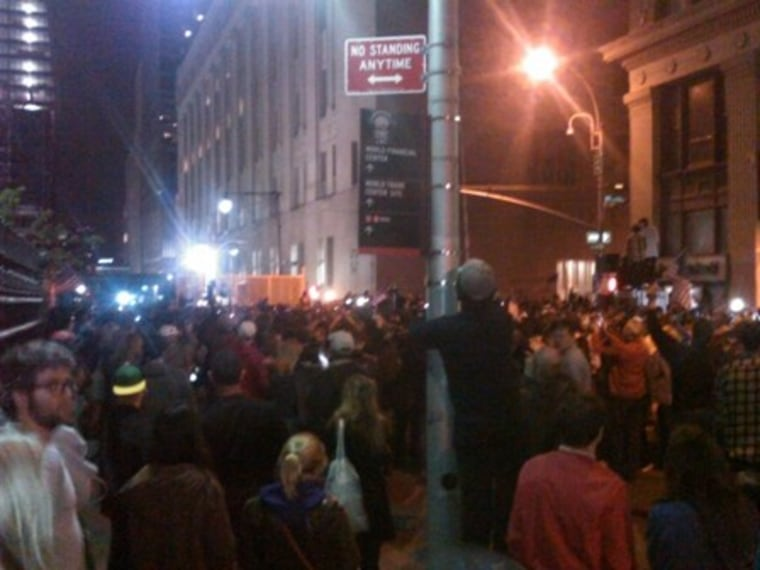 Crowds celebrating.