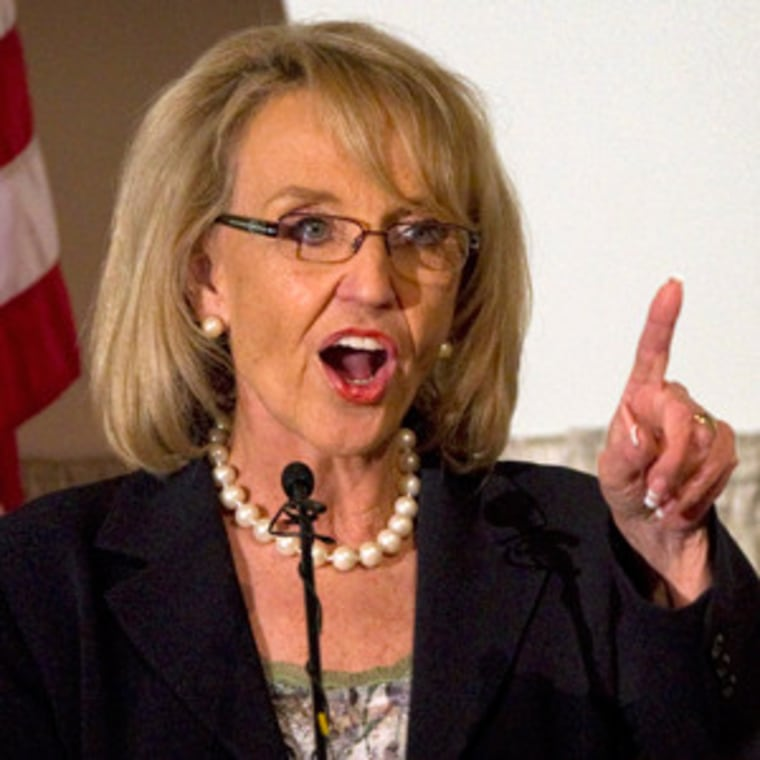 Gov. Jan Brewer speaking at a luncheon in Phoenix Tuesday.