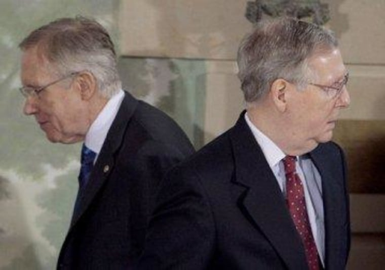 The two Senate leaders are not moving in the same direction.
