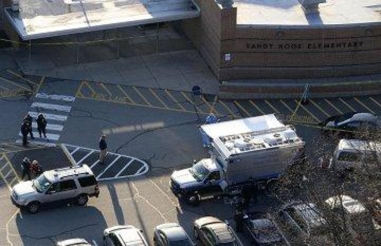 The scene outside of Sandy Hook Elementary School in Newtown, Conn., in December.