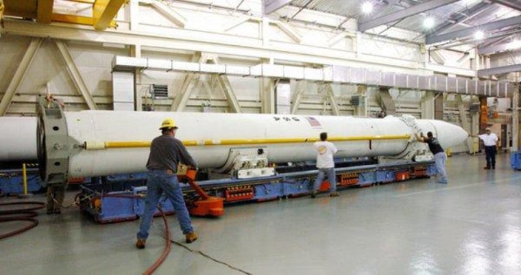 A ground-based Interceptor missile is shown before being installed in its silo at Fort Greely, Alaska.