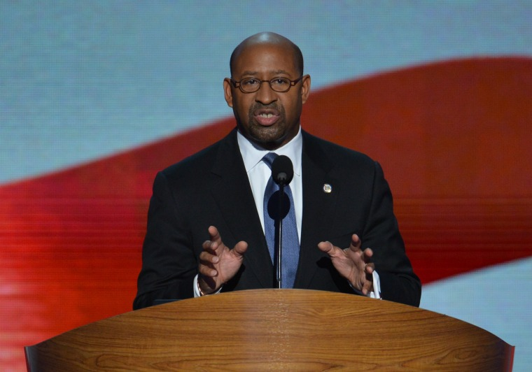 Philadelphia Mayor  Michael Nutter speaks at the Time Warner Cable Arena in Charlotte, North Carolina, on September 6, 2012 on the final day of the Democratic National Convention (DNC). US President Barack Obama is expected to accept the nomination...