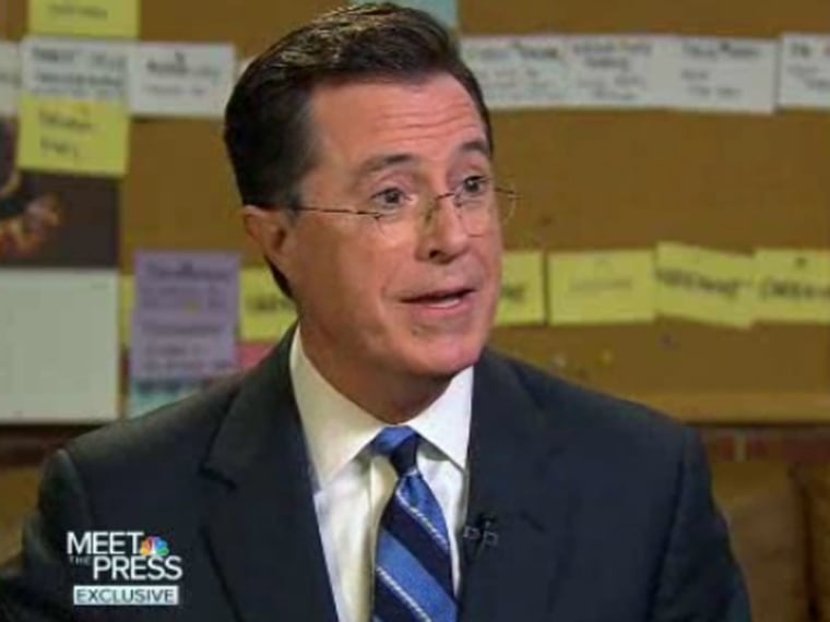 Stephen Colbert spoke to David Gregory on Meet the Press about Romney's debate performance boosting his image with the GOP.