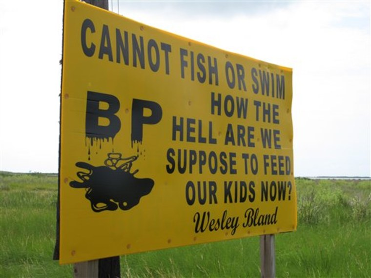 A sign along the highway near Grand Isle, La., on July 11, 2010, lays out the problem many struggling fishing families now face: With their fishing grounds closed by the oil spill in the Gulf of Mexico, they are forced to find something other than...