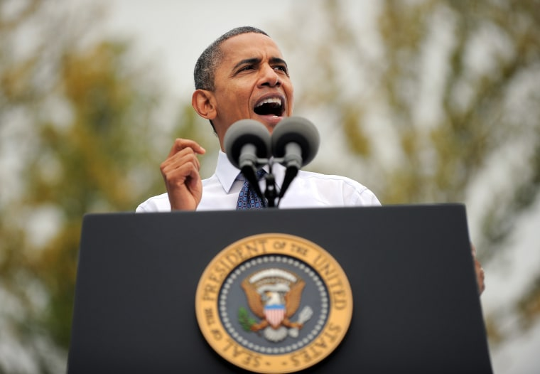 US President Barack Obama speaks during a campaign rally at the George Mason University in Fairfax, Virginia, on October 19, 2012. After a one-night truce that saw Obama and his rival Mitt Romney trade jokes at a charity dinner, the two dashed back...
