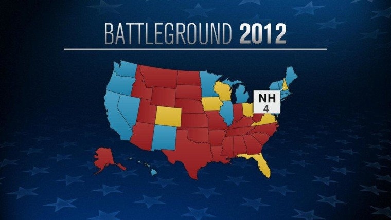 The 2012 battleground map outlining the state of New Hampshire and its 4 electoral votes.