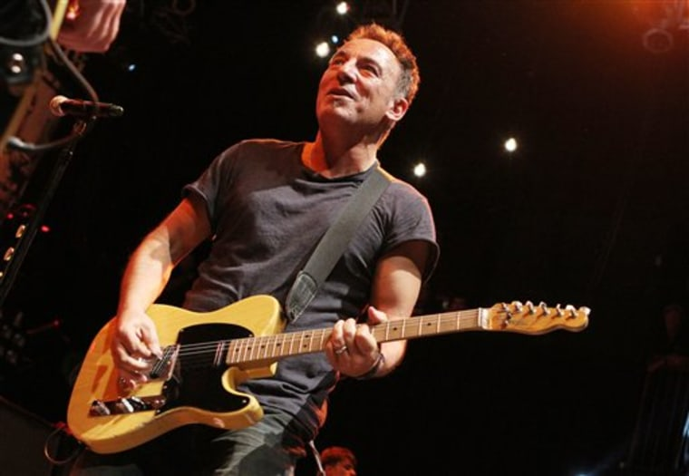 "BOSTON, MA - MARCH 18: Bruce Springsteen joined the Dropkick Murphys during their encore at the House of Blues in Boston, Massachusetts. Bruce Springsteen performed three songs with the band including ""Peg O' My Heart,"" a song on the Dropkicks' new..."