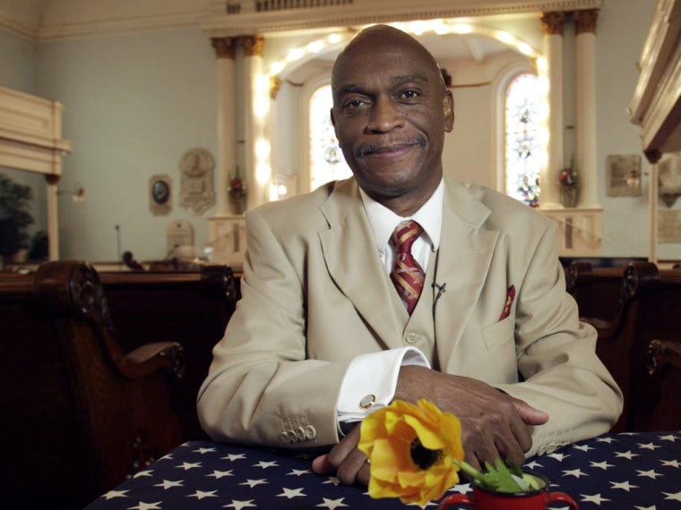Pastor Thurmond Tillman, 57, of Savannah, Georgia, sits for an interview Sunday for Bring it to the Table at the First African Baptist Church in Savannah, Georgia.